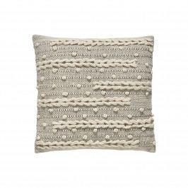 Hübsch Bavlněný polštář s originálním vzorem, krémová barva, textil