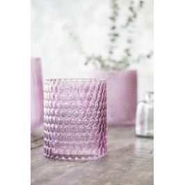 IB LAURSEN Skleněný svícen Hurricane light pink 12 cm, růžová barva, sklo