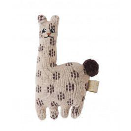 OYOY Dětské pletené chrastítko Baby Lama, béžová barva, textil