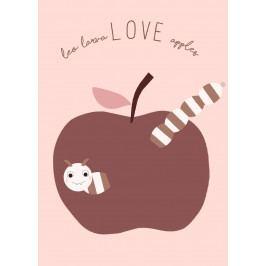 OYOY Plakát do dětského pokojíčku Love Apples, růžová barva, papír