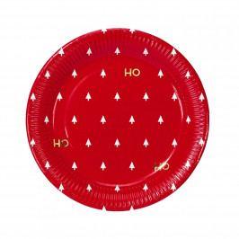 Talking Tables Vánoční papírové talíře Ho Ho Ho - set 8ks, červená barva, papír