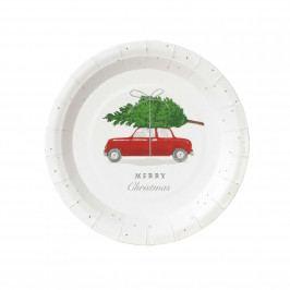 Talking Tables Vánoční papírové talíře Red Car - set 12ks, červená barva, bílá barva, papír