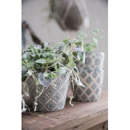 IB LAURSEN Květník Casablanca grey Vzor A, šedá barva, keramika