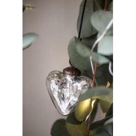IB LAURSEN Vánoční ozdoba Vintage Heart, stříbrná barva, sklo