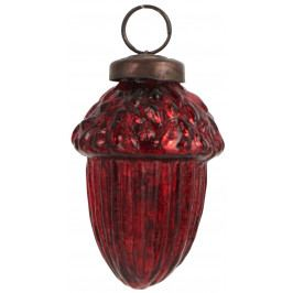 IB LAURSEN Vánoční ozdoba Red Acorn, červená barva, sklo