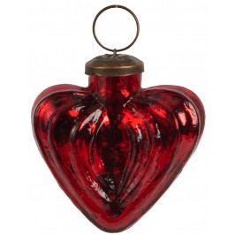 IB LAURSEN Vánoční ozdoba Vintage Heart Red 6cm, červená barva, sklo