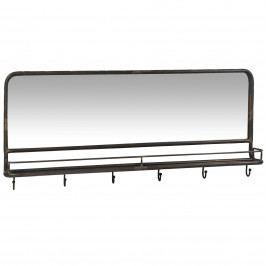 IB LAURSEN Zrcadlo s poličkou a háčky Brooklyn, šedá barva, černá barva, sklo, kov