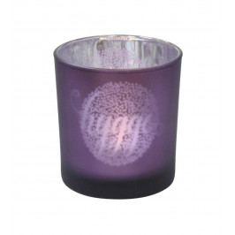 Krasilnikoff Skleněný svícen Hygge Purple, fialová barva, sklo