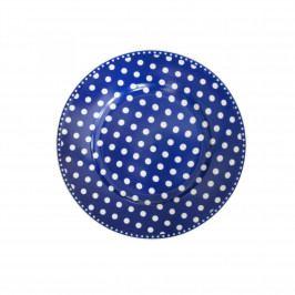 Krasilnikoff Porcelánový dezertní talíř Dots Dark Blue, modrá barva, porcelán