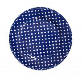 Krasilnikoff Porcelánový obědový talíř Dots Dark Blue, modrá barva, porcelán