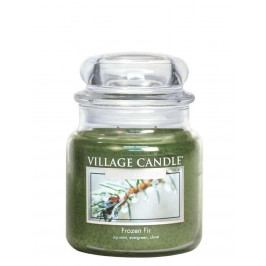 VILLAGE CANDLE Svíčka ve skle Frozen Fir - střední, zelená barva, sklo, vosk
