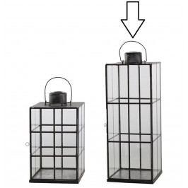 Chic Antique Velká lucerna Stylish Lattice Glass 57 cm, černá barva, sklo, kov