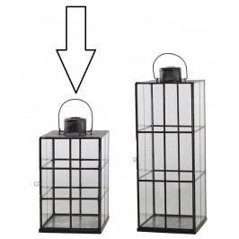 Chic Antique Lucerna Stylish Lattice Glass 38 cm, černá barva, sklo, kov