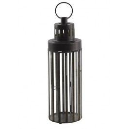 Chic Antique Kovová lucerna Latern Pillar 35 cm, černá barva, sklo, kov