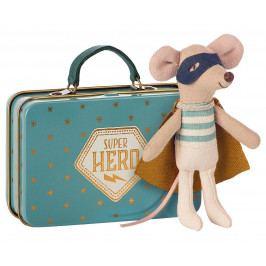 Maileg Myšák superhrdina v kufříku - little brother, modrá barva, béžová barva, kov, textil