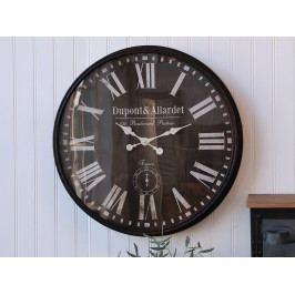 Chic Antique Nástěnné hodiny France 80cm, černá barva, sklo, kov