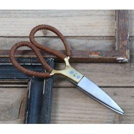 Chic Antique Vintage nůžky s koženkou Gold, zlatá barva, kov, kůže