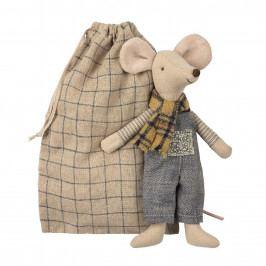 Maileg Myšák v pytlíčku Winter Father, béžová barva, textil