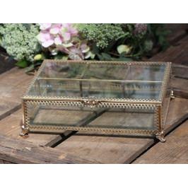 Chic Antique Skleněná šperkovnice Treasure Antique Brass, zlatá barva, čirá barva, sklo, kov