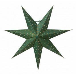 watt & VEKE Závěsná svítící hvězda Isadora Green 60 cm, zelená barva, zlatá barva, papír