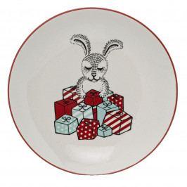 Bloomingville Dezertní talíř Twinkle, červená barva, zelená barva, krémová barva, keramika