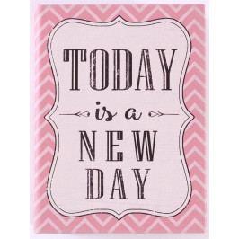 La finesse Dřevěná kniha s úložným prostorem Today is a new day, růžová barva, dřevo