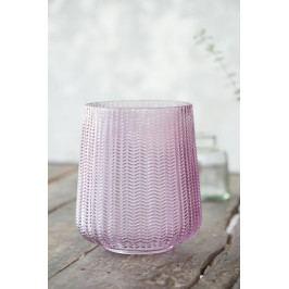 IB LAURSEN Skleněný svícen Hurricane light pink 13,5 cm, růžová barva, sklo