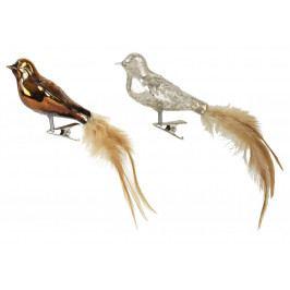IB LAURSEN Skleněný ptáček na skřipci Bird Stříbrný, zlatá barva, stříbrná barva, sklo, kov