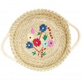 rice Košík z rafie Flower Embroidery White, multi barva, přírodní barva, proutí