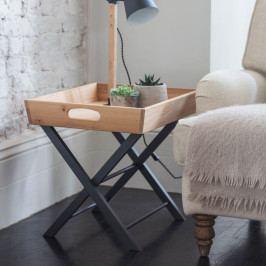 Garden Trading Skládací stolek Carbon Oak, šedá barva, přírodní barva, dřevo, kov