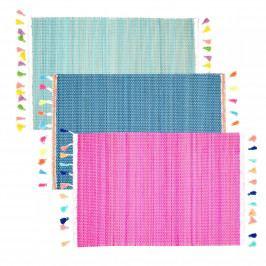 rice Bambusové prostírání Colorful Tassel Růžová, růžová barva, modrá barva, zelená barva, dřevo, textil