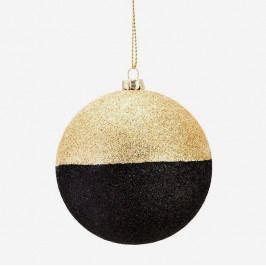 MADAM STOLTZ Třpytivá vánoční baňka Black/Gold, černá barva, zlatá barva, plast