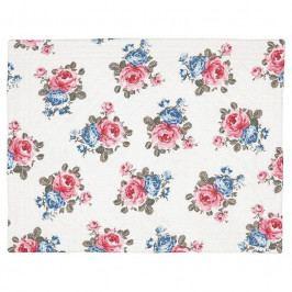 GREEN GATE Bavlněné prostírání Hailey white 35x45cm, růžová barva, modrá barva, textil