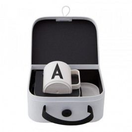 DESIGN LETTERS Dětská sada nádobí v kufříku Suitcase For Kids A, černá barva, bílá barva, plast, papír