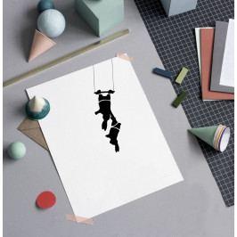 HAM Sítotisk s cirkusovými králíky Trapeze Rabbit 30 x 40 cm, černá barva, papír