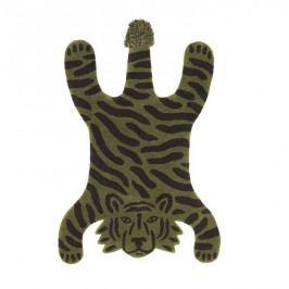 ferm LIVING Dětský koberec Safari Tiger 160x118cm, zelená barva, textil