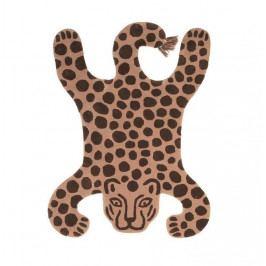 ferm LIVING Dětský koberec Safari Leopard 160x118cm, hnědá barva, textil