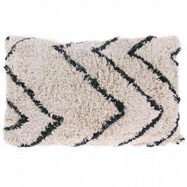 HK living Bavlněný polštář Zigzag Cushion 40x60 cm, černá barva, bílá barva, textil