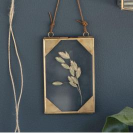 IB LAURSEN Závěsný skleněný fotorámeček Triangular, zlatá barva, sklo, kov