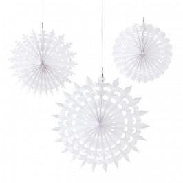 Talking Tables Závěsné papírové dekorace Snowflake 3 ks, bílá barva, papír