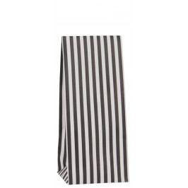IB LAURSEN Papírový sáček Black stripes 22,5 cm, černá barva, bílá barva, papír