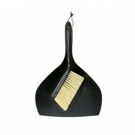 HK living Smetáček s lopatkou Black, černá barva, dřevo, plast