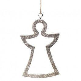 Chic Antique Vánoční ozdoba Glitter Angel, zlatá barva, stříbrná barva, plast