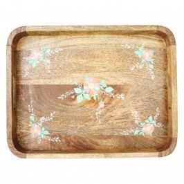 rice Dřevěný podnos Flowers, růžová barva, hnědá barva, dřevo