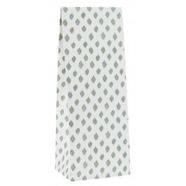 IB LAURSEN Papírový sáček Green Leaves 9 x 22,5 cm, zelená barva, bílá barva, papír