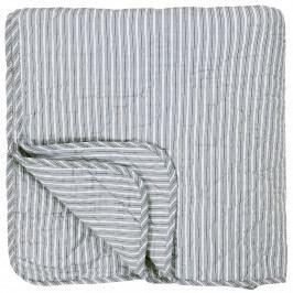 IB LAURSEN Prošívaný bavlněný přehoz Dusty Blue Stripes 130x200, modrá barva, bílá barva, textil