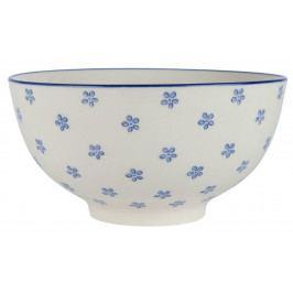 IB LAURSEN Miska Casablanca Bloom Blue, modrá barva, bílá barva, keramika