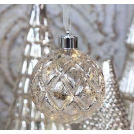 Chic Antique Vánoční baňka s LED drátkem Silver Look, stříbrná barva, sklo