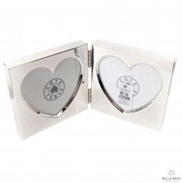 CÔTÉ TABLE Fotorámeček na dvě fotky Heart, stříbrná barva, kov
