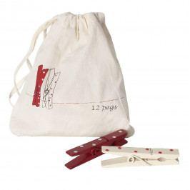 Maileg Dřevěné kolíčky Spot - set 12 ks, červená barva, bílá barva, dřevo